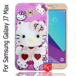 KC Mirror Kitten with Red Hearts Diamonds Studs Back Cover for Samsung Galaxy J7 Max  - Pink